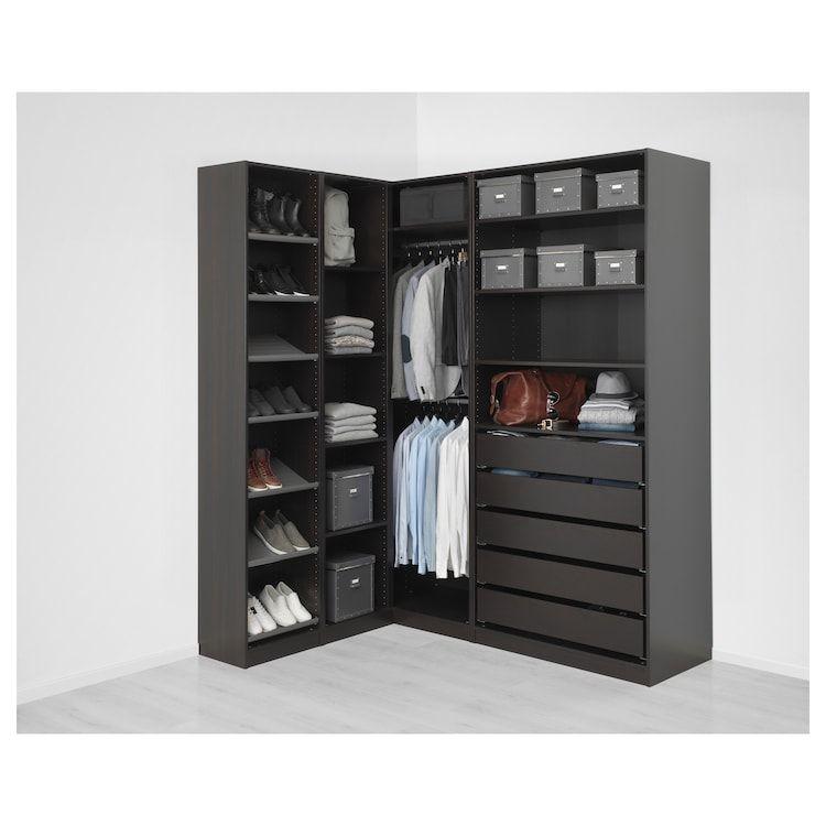 Pax Corner Wardrobe Black Brown 63 1 8 73 7 8x93 1 8 Ikea In 2020 Corner Wardrobe Pax Corner Wardrobe Ikea Pax Corner Wardrobe