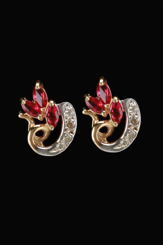 Gold blowout k yellow gold diamond u ruby trio earrings joyeria