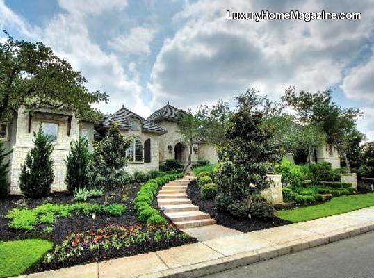 Single Story Luxury Estate San Antonio Tx Homes House Front Yard Landscaping Landscape Design Plants