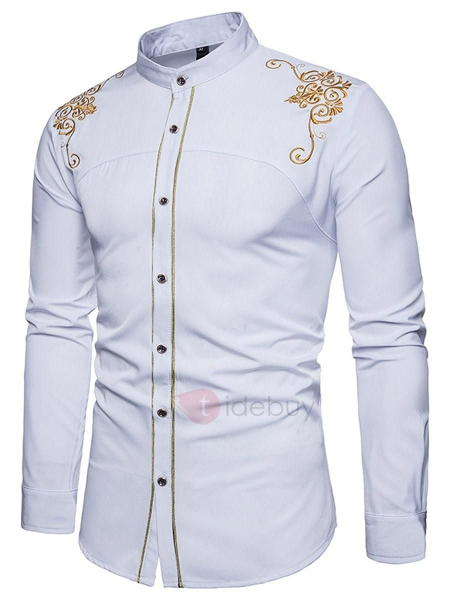 Tidebuy Embroidery Stand Collar Slim Mens Shirt In 2019 Tbdress