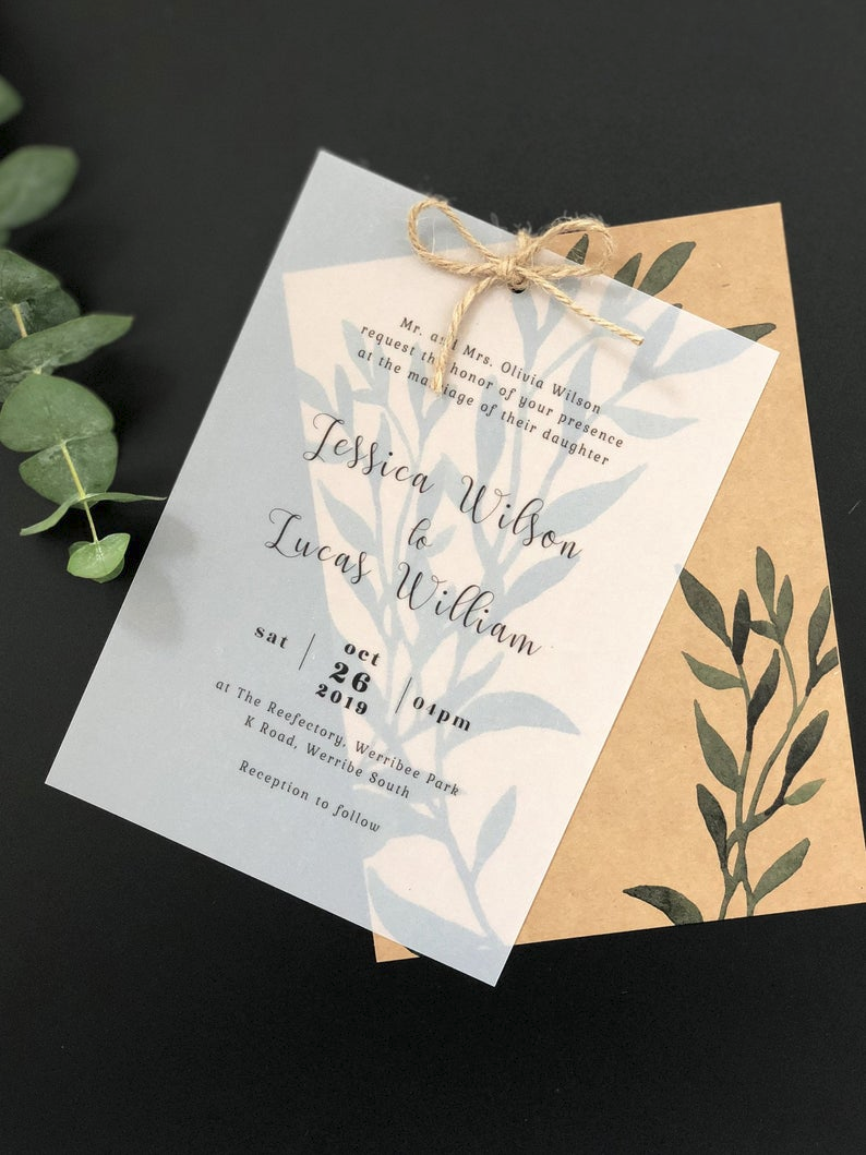 Vellum Paper Wedding Invitations With Kraft Paper And Burlap