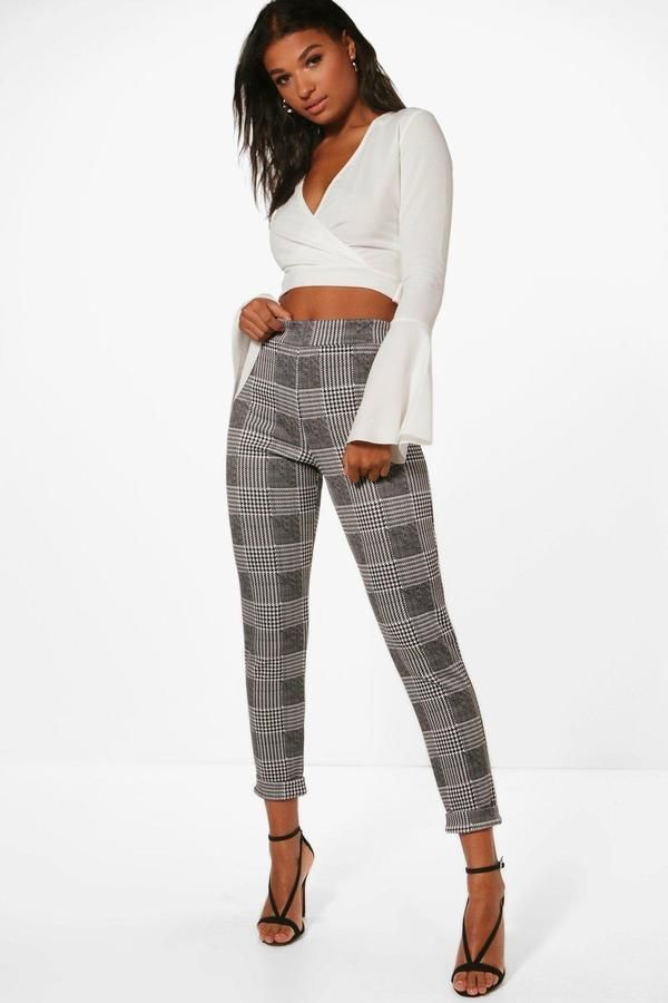 6a013c698e ... pants for women. boohoo Una Dogtooth Check Skinny Stretch Trousers