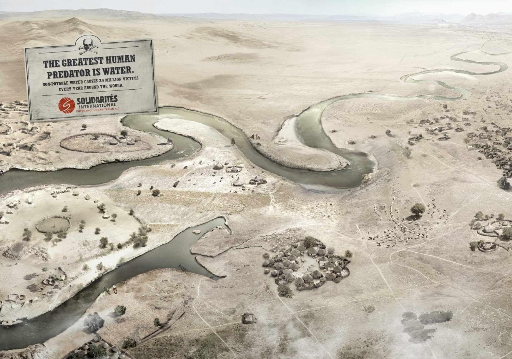 """"""" Le plus grand prédateur de l'Homme est l'eau. """" / Campagne pour le respect de l'eau. / By Solidarites International."""