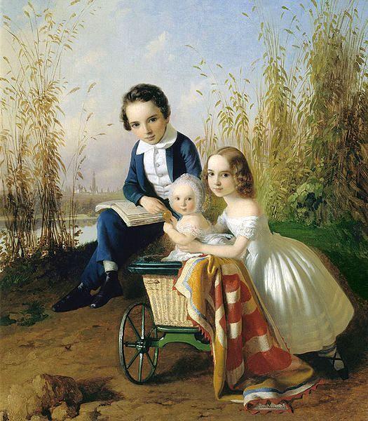 The Olsufyevs Children-Carl Timoleon von Neff (1804 – 1877, Estonian)