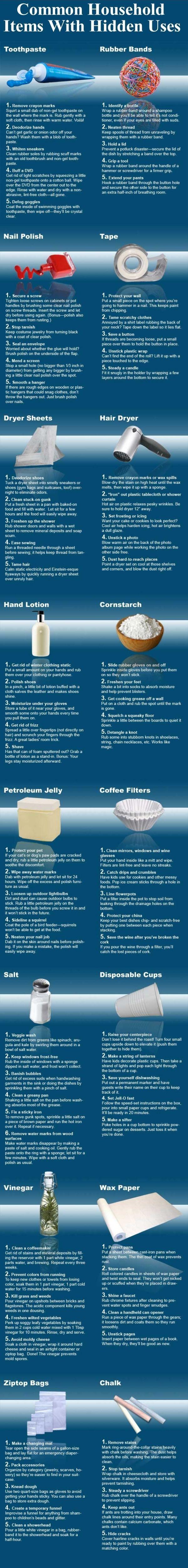Common Household Items With Hidden Uses Diy Diy Ideas Easy