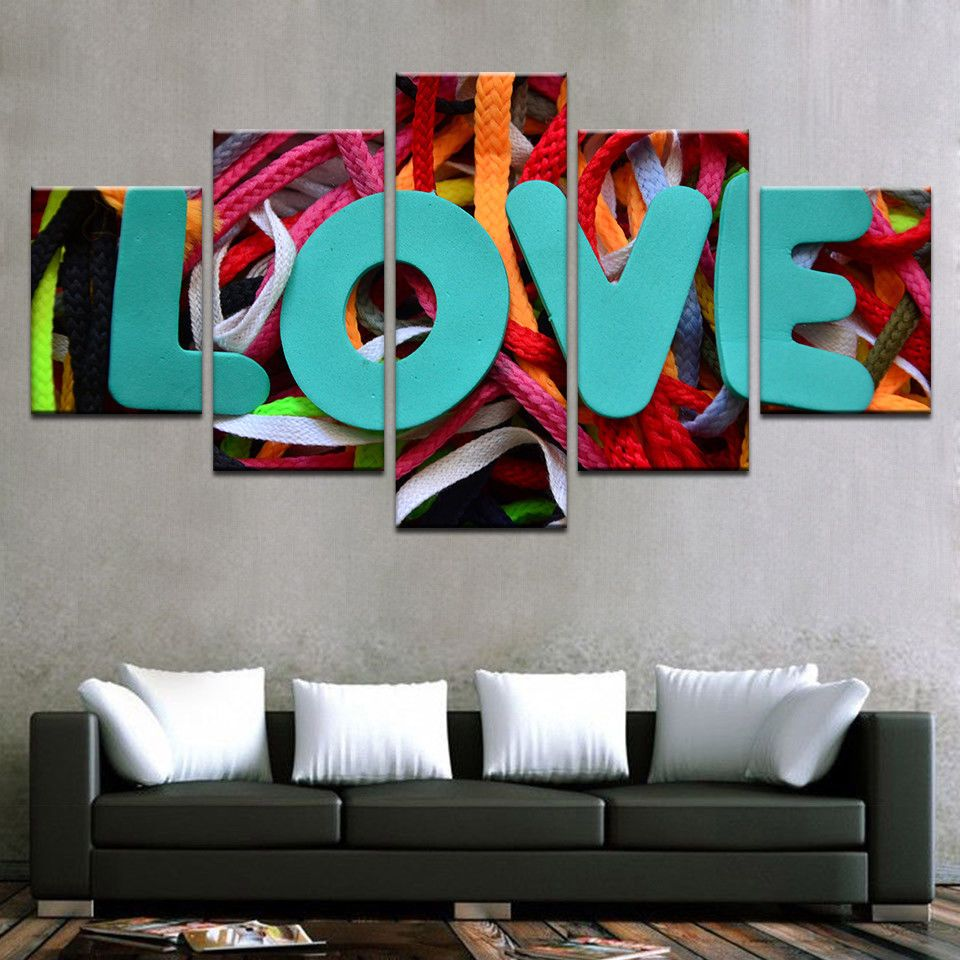 5pcs Hot valentine modern Love Painting oil Printed Canvas Wall Art ...