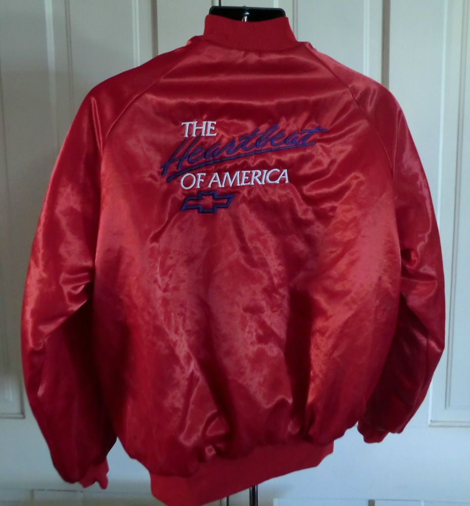 Vintage rare red l men s chevrolet heartbeat of america satin jacket made usa westark