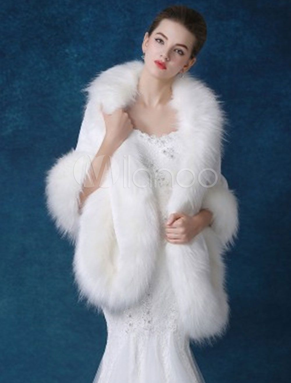 846e8769d29 Women Wool Poncho Faux Fur 3/4 Sleeves White Poncho Women in 2019 ...