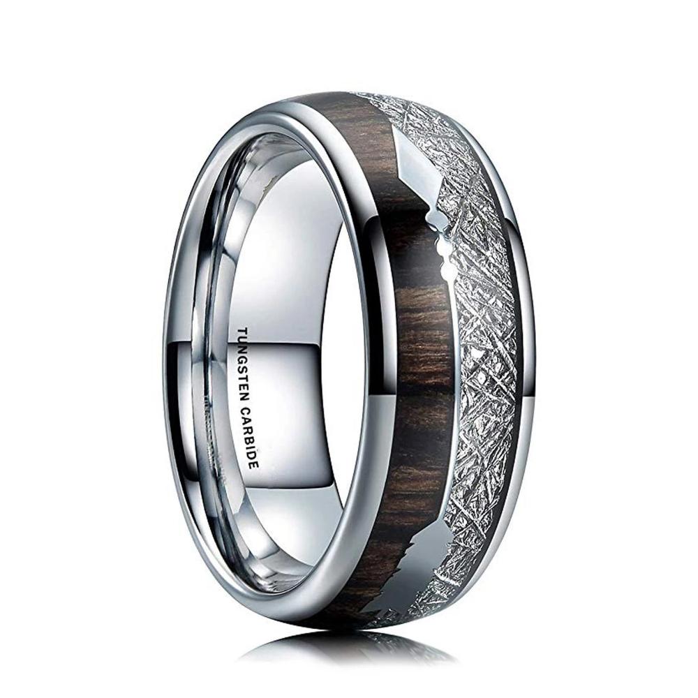 Meteorite Wedding Band, Koa Wood Ring, Mens Tungsten