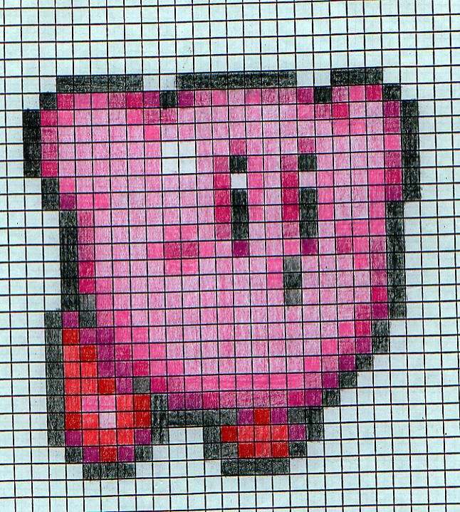Graft Paper Art  Kirby Sprite On Graph Paper By Kyusil On