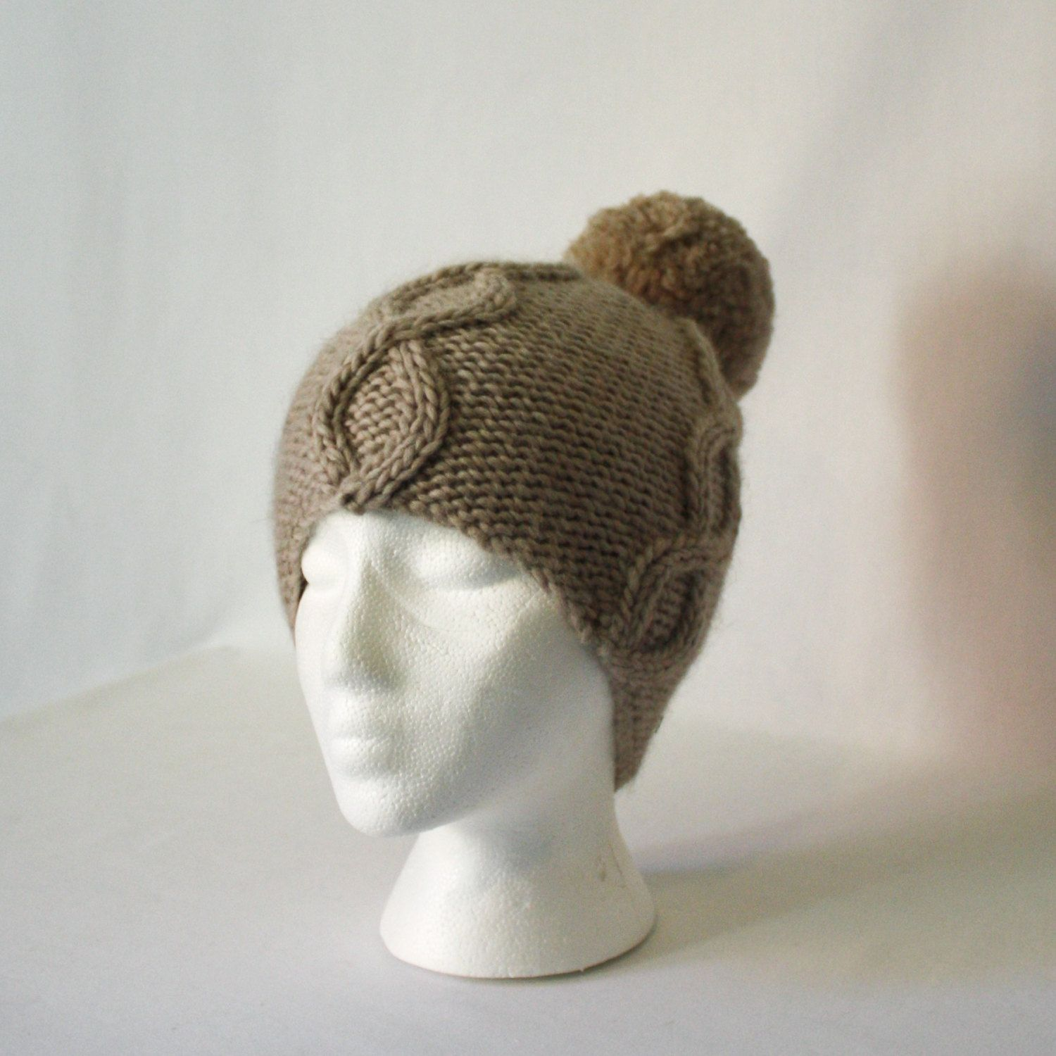 Power Cable Hat knitting PATTERN - warm bulky knit bobble cabled ...