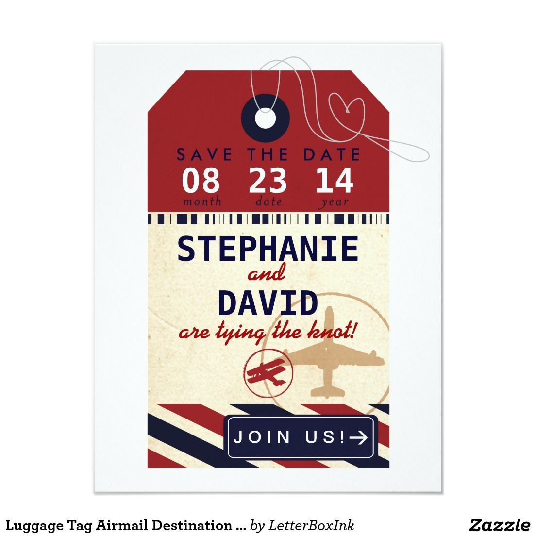 Luggage Tag Airmail Destination Wedding Save Date | Save The Date ...