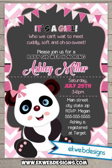 Cute Panda It S A Baby Shower Invitations