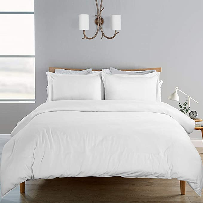 Photo of SORMAG 100% Washed Cotton Duvet Cover 3 Piece, Comforter Cover Queen Full Size, Solid Color and Ultra Soft with Zipper Closure, Corner Ties, Simple Bedding Style, Off White
