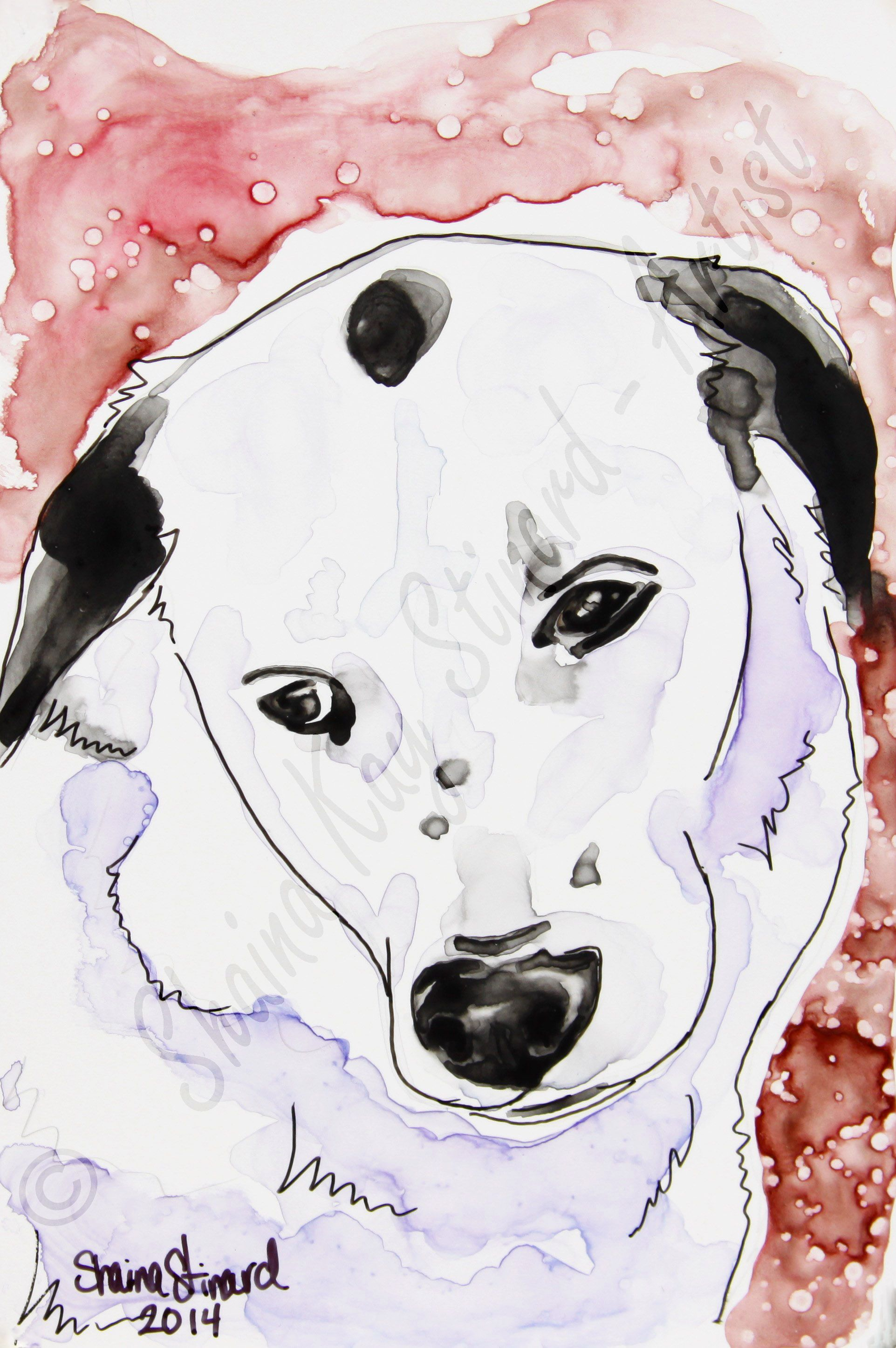 CUSTOM PET PORTRAITS / MIXED MEDIA SKETCHES ON YUPO PAPER by Shaina Kay Stinard - Artist.  Making your photos a work of art!   'Spot' - 4 x 6 mini portrait, watercolor with pen and ink on YUPO paper.  www.shainastinardartist.com