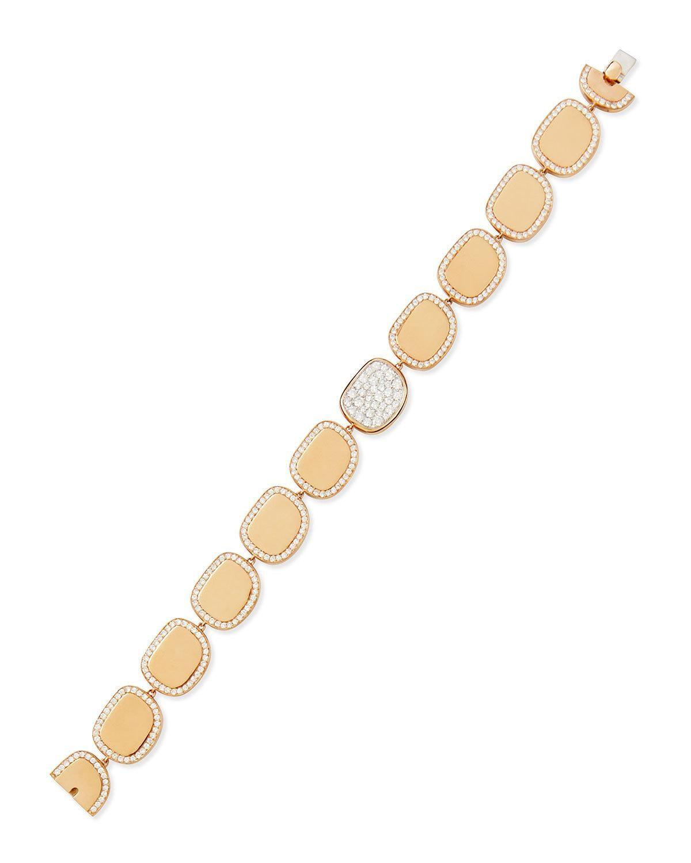 Roberto coin k rose gold diamond african jade collection bracelet