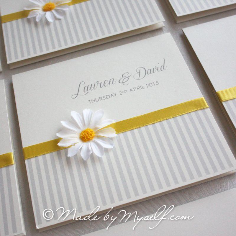 Daisy Flower Pocketfold Wedding Invitation Includes Rsvp Guest Information