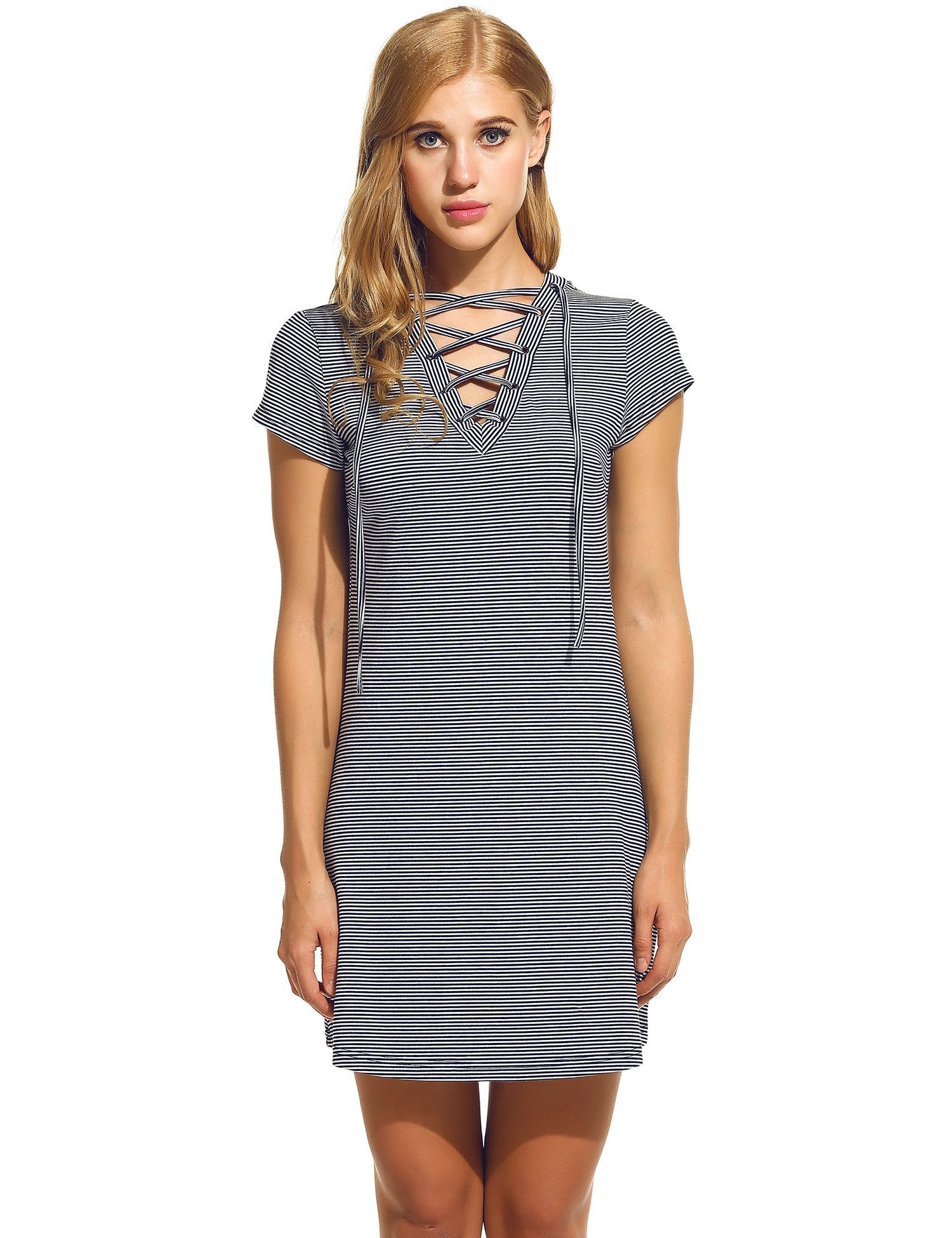 New women vneck laceup short sleeve striped casual dresses