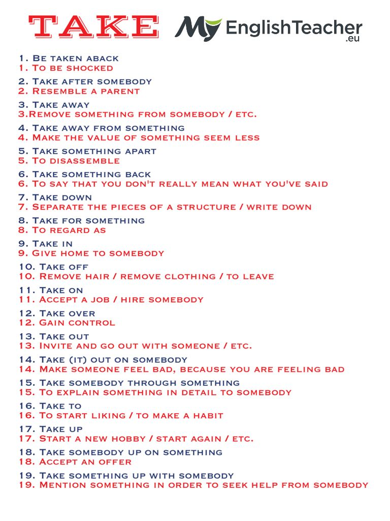 19 Most Common Phrasal Verbs With Take English Phrases English