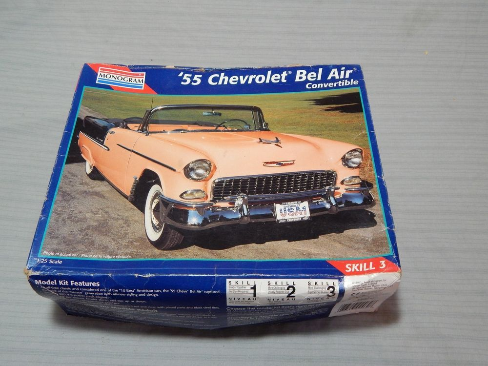 Vintage Monogram 55 Chevrolet Bel Air Convertible Model Kit 1 25