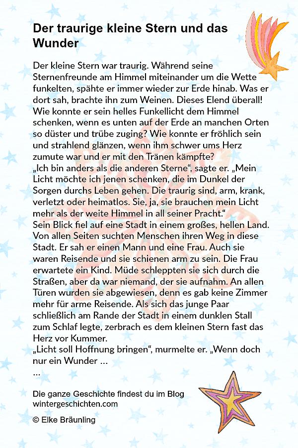 Weihnachtsgeschichten Der Traurige Kleine Stern Und Das Wunder Vorschule Das Der Kleine Stern T In 2020 Weihnachten Geschichte Kurze Weihnachtsgeschichte Kleiner Stern
