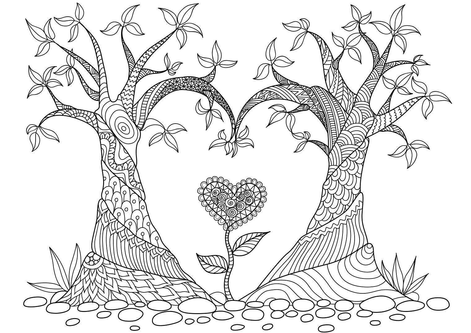 Abstract Trees Coloring Page 22 Faaliyetler Pinterest
