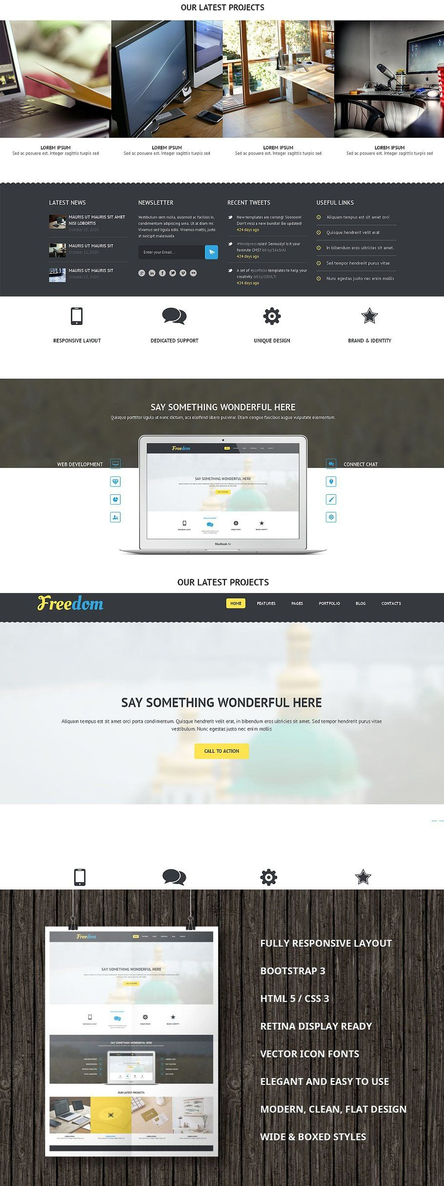 Freedom Bootstrap Template In 2020 Bootstrap Template Web Themes Templates