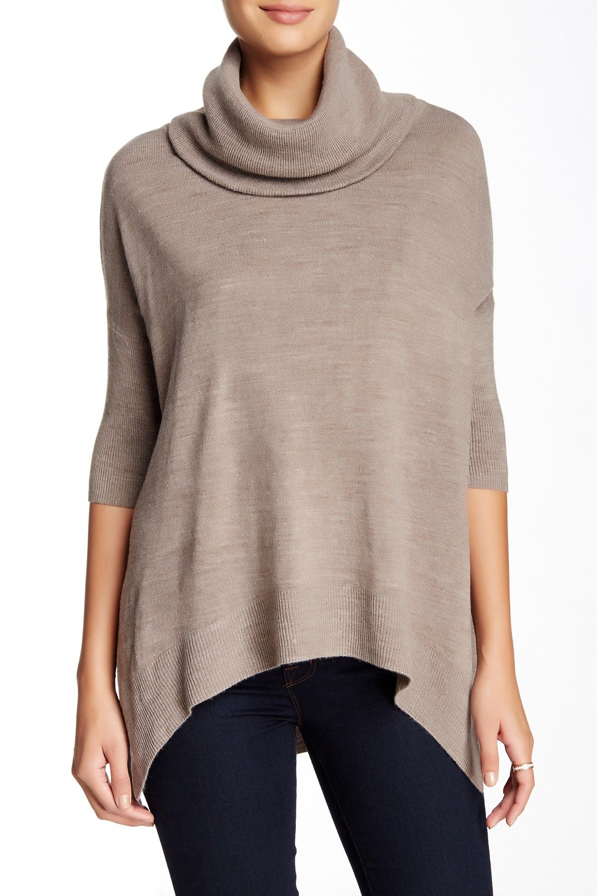 Sweet Romeo | 3/4 Length Sleeve Boxy Cowl Neck Sweater | Colors ...