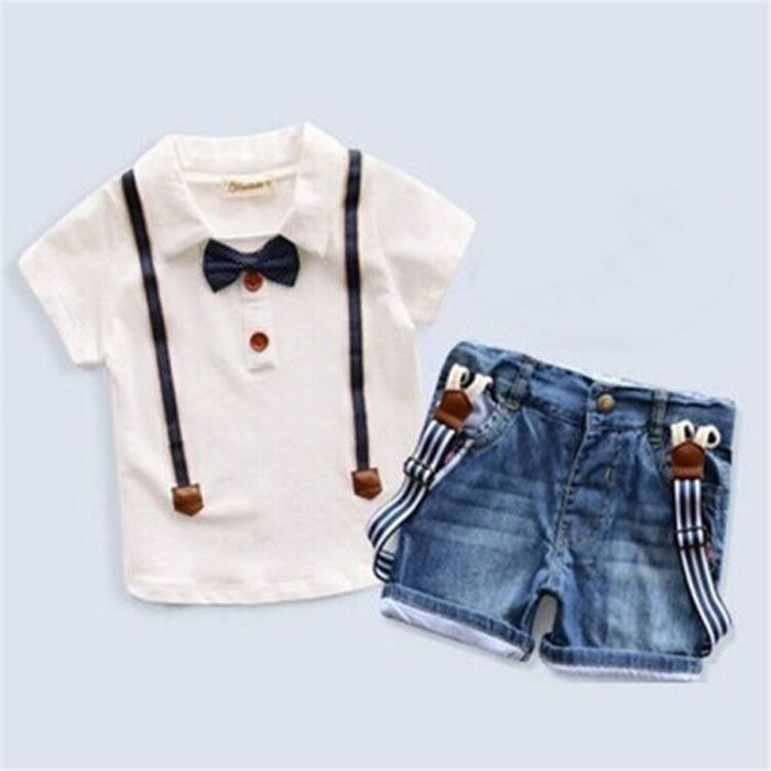 Denim Pants Kids Summer Casual Clothes 2pcs Kids Baby Boys Short Sleeve T-Shirt