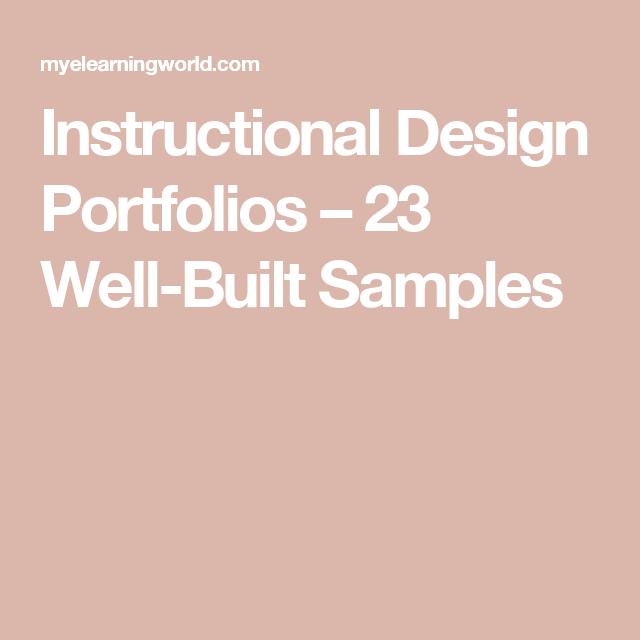 Instructional Design Portfolios 23 Well Built Samples