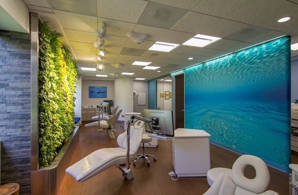 Wall murals are a great addition to this amazing dental for Decoracion consultorio dental feng shui