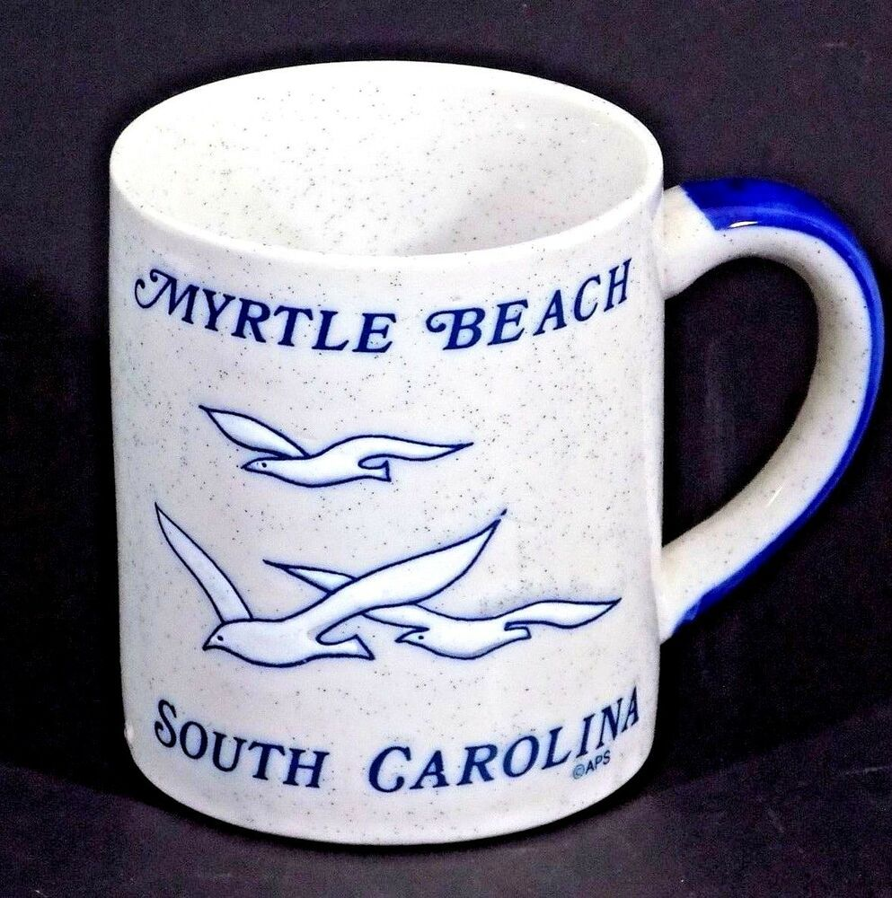Myrtle Beach Souvenir Coffee Mug Cup Light Gray Cup Blue Seagulls South Carolina Myrtle Beach Myrtle Mugs