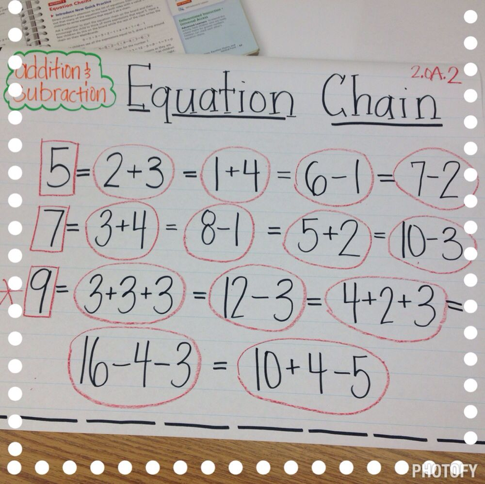 Equation chain. 2.OA.2. Addition and subtraction. Math
