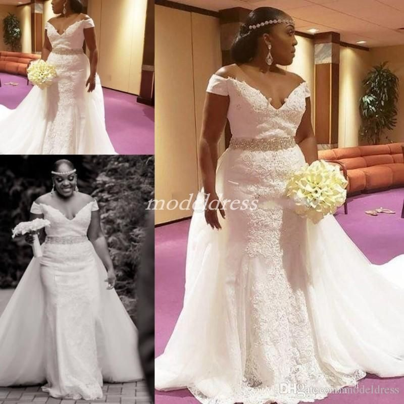 81659b170a 2019 African Mermaid Wedding Dresses With Over Train Off Shoulder ...