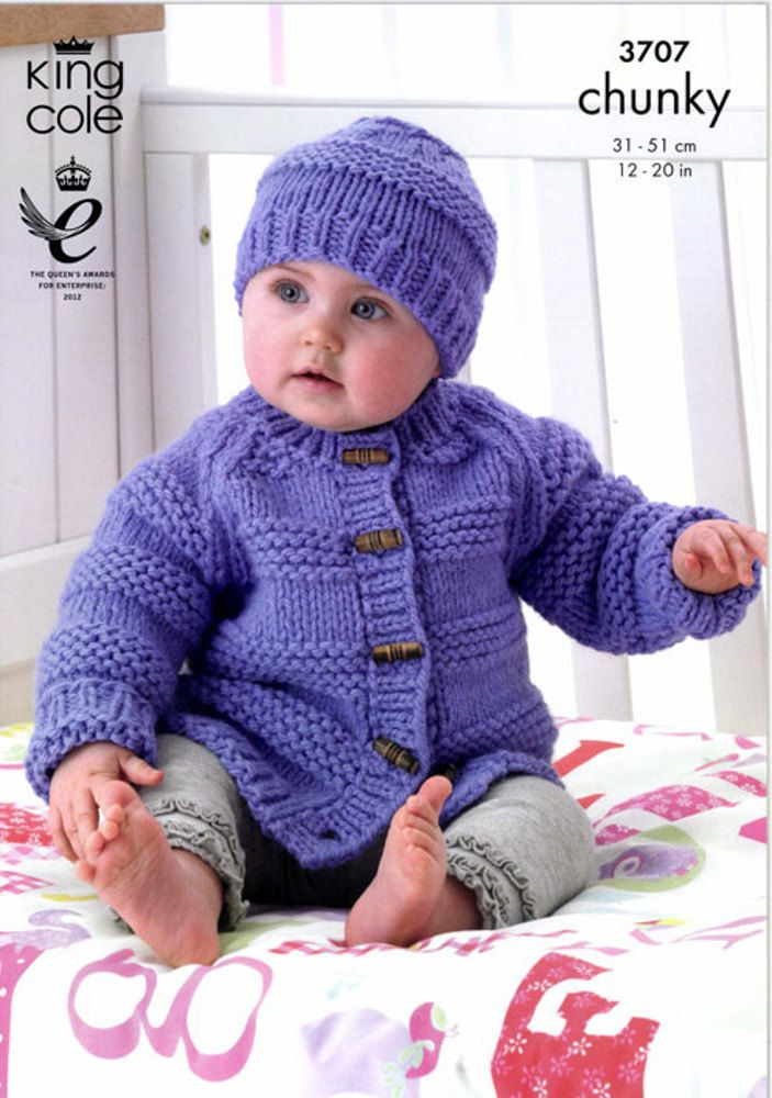 Jacket, Hat and Mittens in King Cole Comfort Chunky - 3707 ...