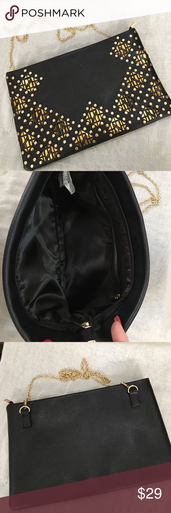 NEW Black & Gold Cutout Vegan Envelope Clutch Perfect with everything Clutch with chain and NWOT.   12x8.  So it's not your average evening bag. Bags Clutches & Wristlets