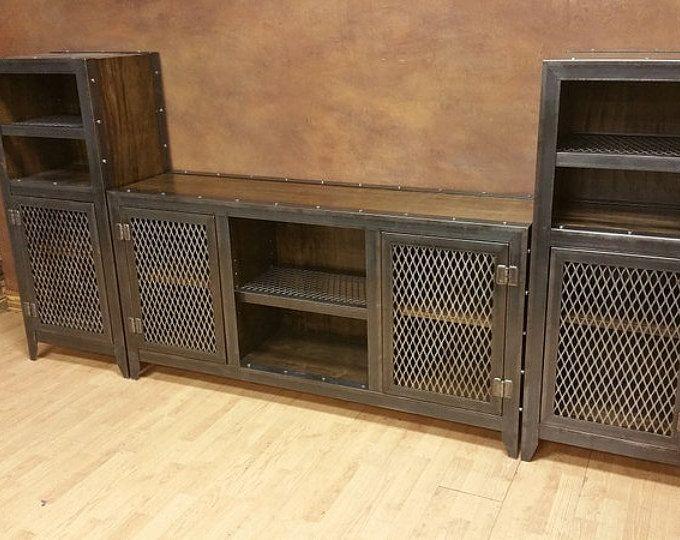 Rustic Reclaimed Wood Industrial Media Cabinet #043 ...