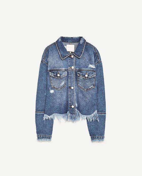 Jeansjacke mit fransen zara