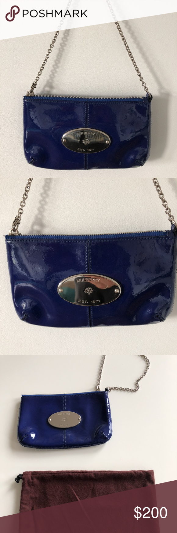 Mulberry Bright blue patent-leather small chain should bag pouch. Easily  fits party essentials  phone b9dd6e1fe65fb