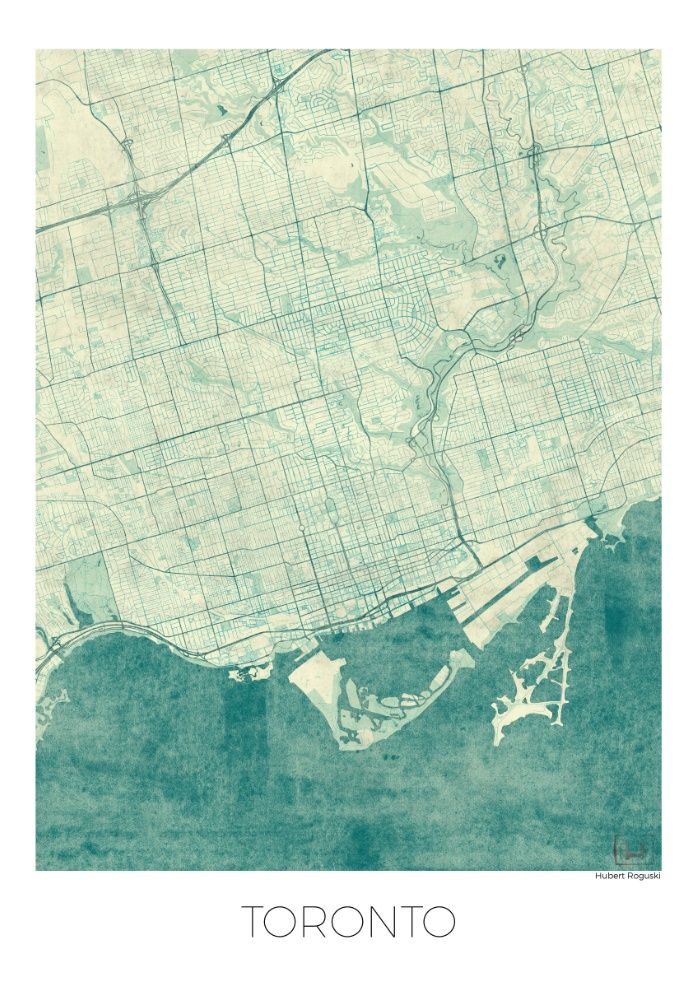 Toronto Map Blue Vintage Canvas Print | Yes, Please | Toronto, Map ...
