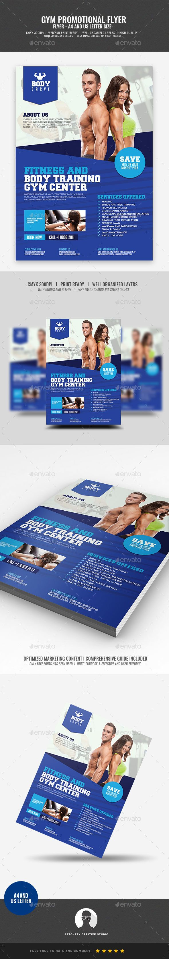 Gym Fitness Promotional Flyer   Promotional flyers, Gym fitness and ...