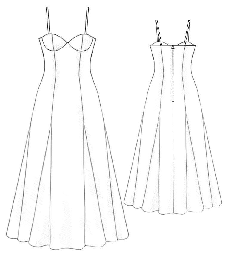 Long Dress - Sewing Pattern #5189 Made-to-measure sewing pattern ...