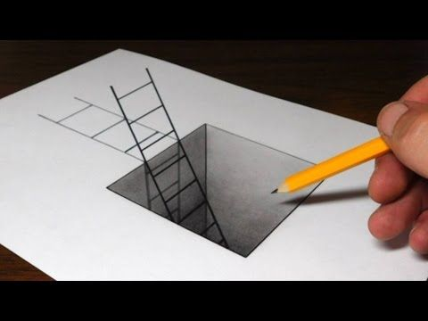 How To Draw A Ladder In A Hole 3d Trick Art For Kids Youtube
