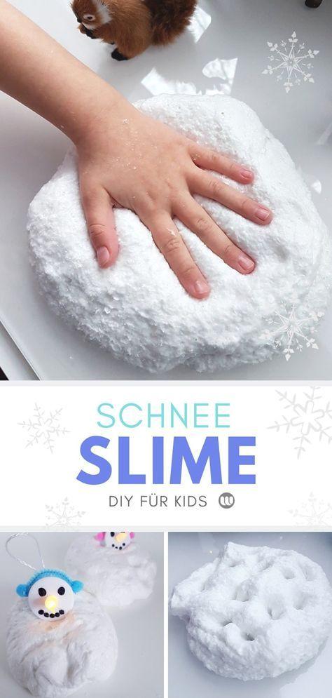 Snow Slime DIY Anleitung: Rezept für fluffigen Schnee Schleim #holidaycraftsforkidstomake