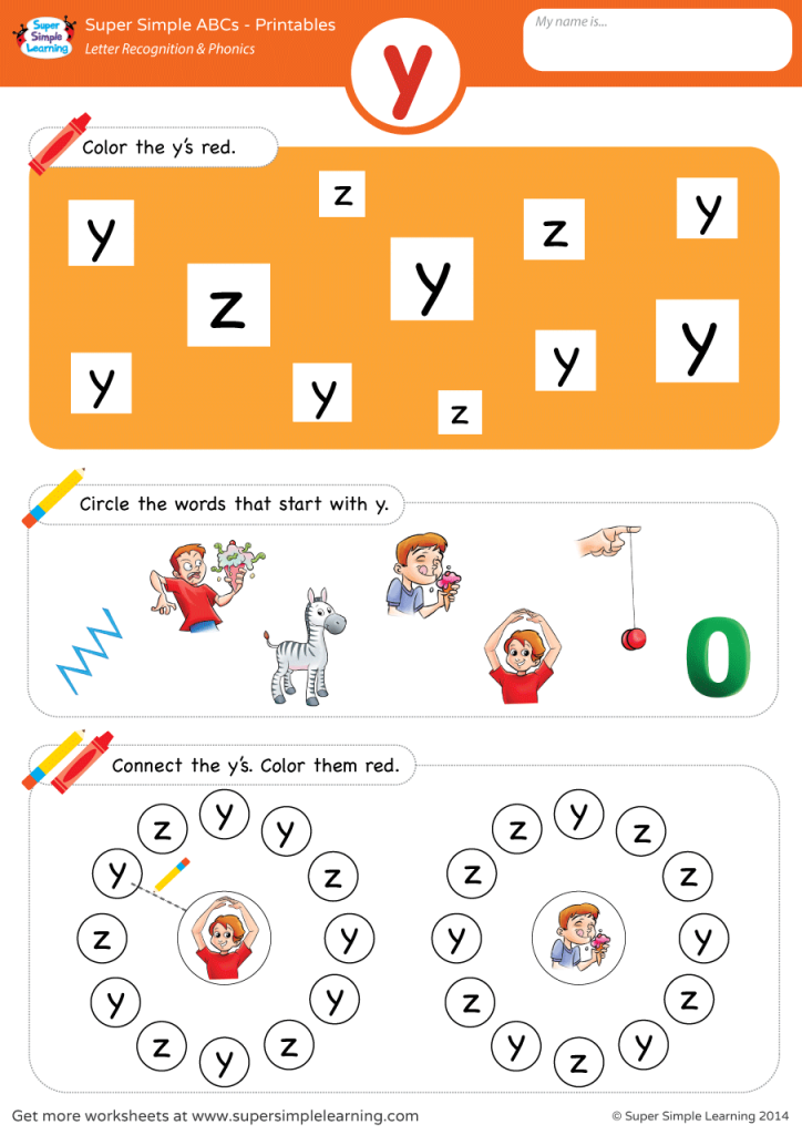 Letter Recognition & Phonics Worksheet y (lowercase
