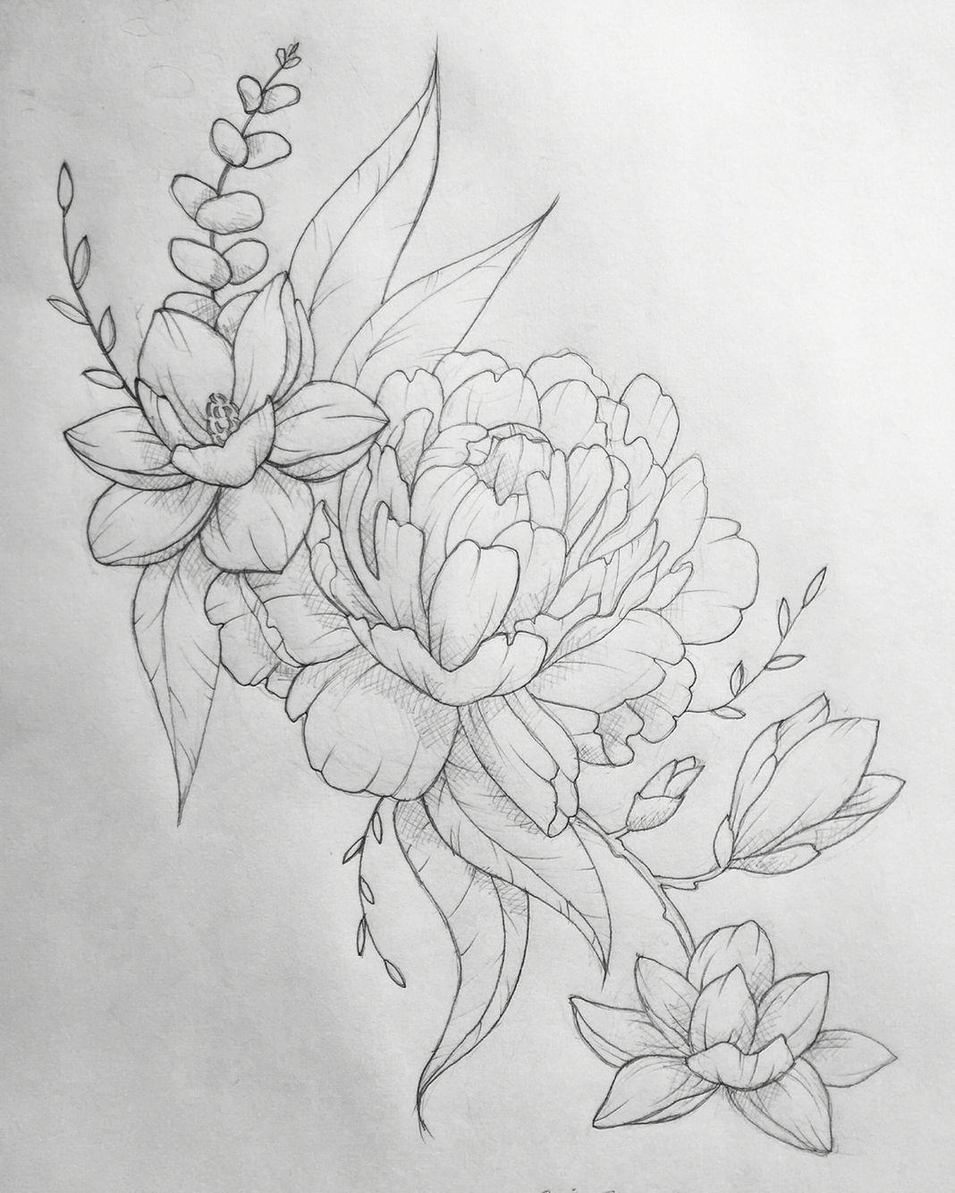 Line Drawing Flower Tattoo : Peony eucalyptus magnolia tattoo interested in custom