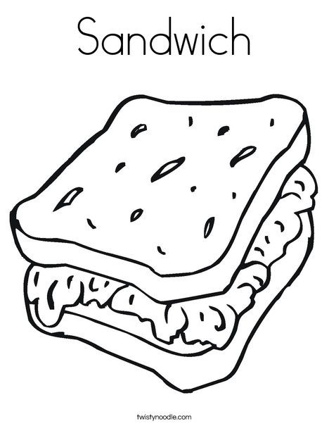 Sandwich Coloring Page Coloring Page Template Printing Printable