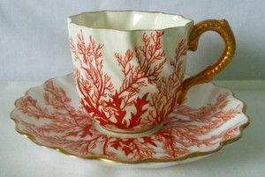Coalport Cup and Saucer, Gilded Embossed Handle, Seaweed Pattern c.1881-1891