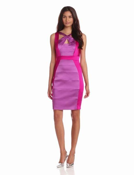 Amazon.com: Jax Women's Colorblock Banded Dress With Neckline Detail: Clothing