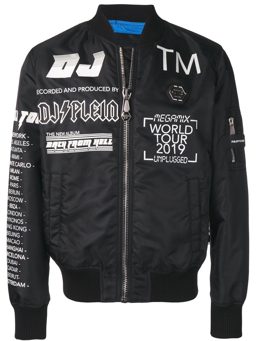 Philipp Plein Philipp Plein Slogan Detail Bomber Jacket Black Philippplein Cloth Black Bomber Jacket Bomber Jacket Jackets Men Fashion [ 1334 x 1000 Pixel ]